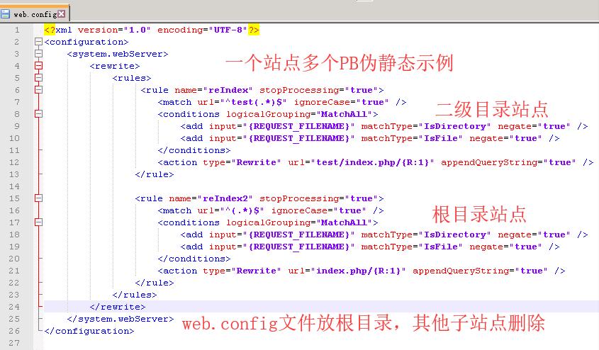 IIS环境下PBootcms、Thinkphp二级目录伪静态web.config配置规则  PbootCMS 第1张